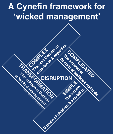 Cynefin model adapted for wicked problems diagram by Peter Strempel.