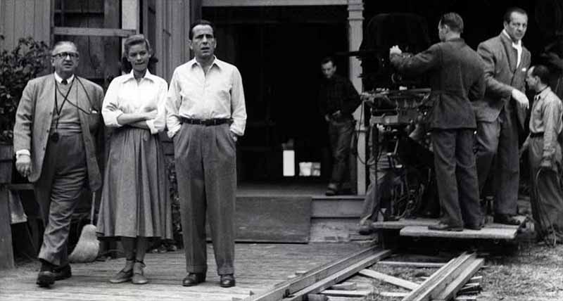 Karl Freund on-set with Bacall and Bogart.