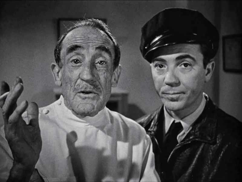 Houseley Stevenson as Dr Walter Coley and Tom D'Andrea as Sam the cabbie.
