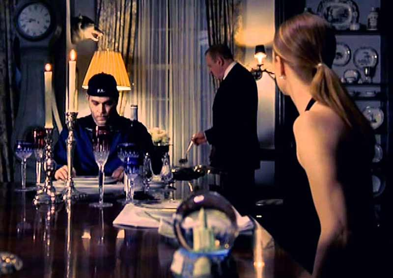Hannibal's revenge dinner party, during which Lecter makes Starling antagonist Paul Krendler (Ray Liotta), eat parts of his own brain as Starling (Julianne Moore) is compelled to observe.