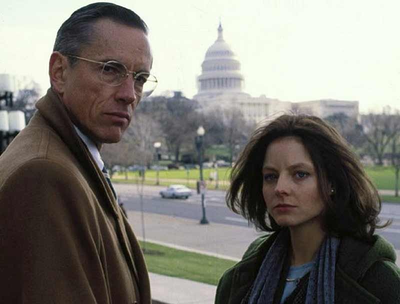 Scott Glenn as Jack Crawford and Jodie Foster as Clarice Starling in Silence of the Lambs.