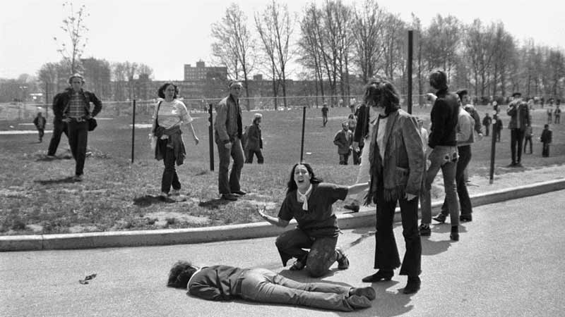 John Filo (1948- ) captured Mary Ann Vecchio kneeling over the body of Jeffrey Miller, murdered by an Ohio National Guardsman. Filo's photograph won a Pulitzer Prize.