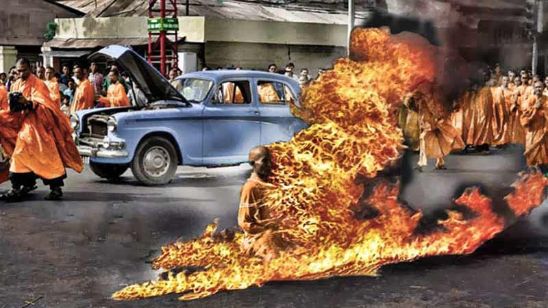 Buddhist monk Thích Quảng Đức immolated himself on 11 June 1963 to protest against the persecution of Buddhists by the regime of Ngô Đình Diệm.