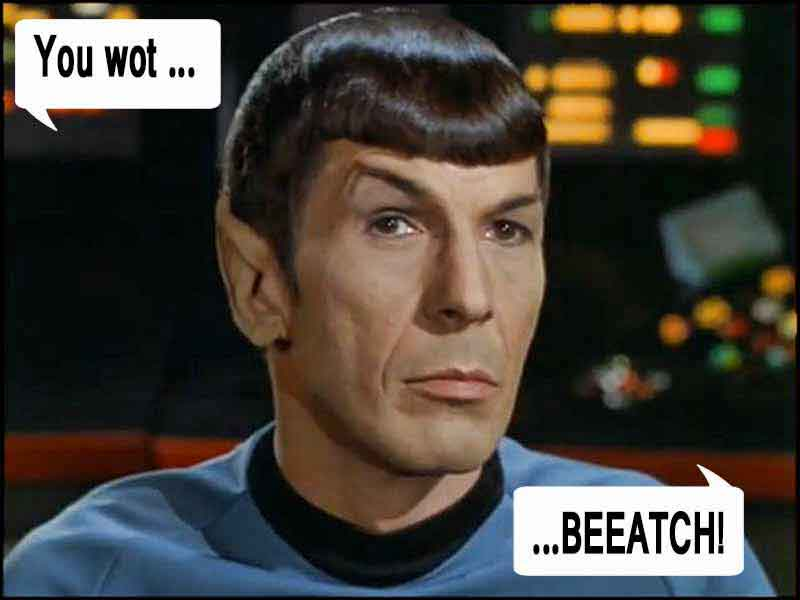 Spock: You wot ... BEEATCH!