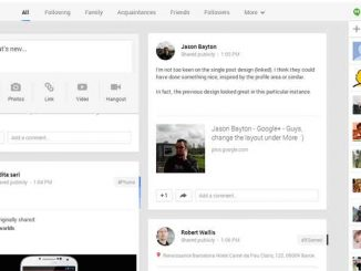Google Plus interface.