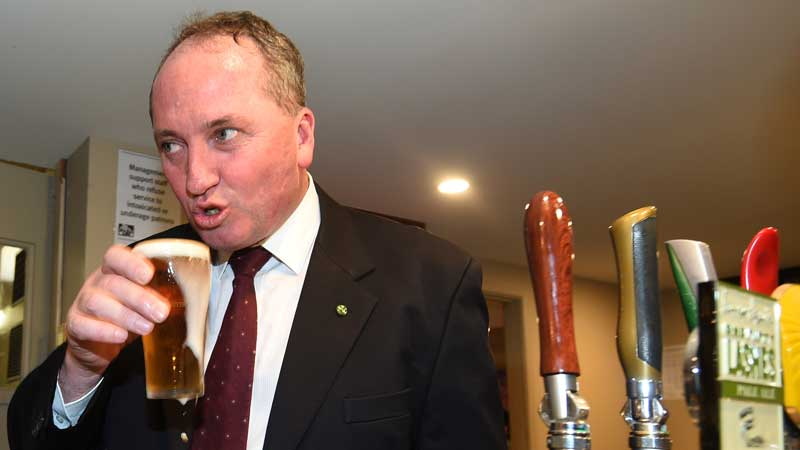 Barnaby Joyce: barely coherent and perpetually drunk.