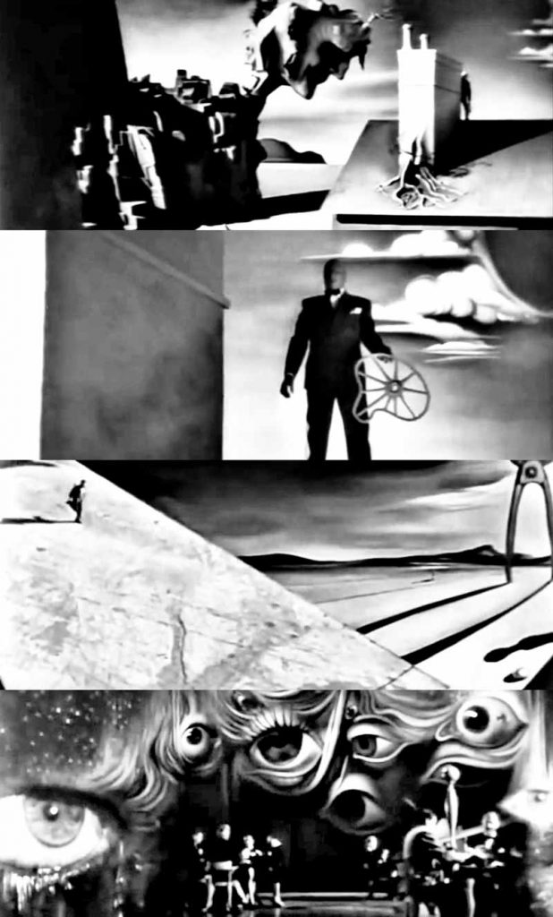 A montage of images from the Dali dream sequence.